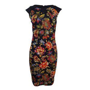 Sangria Scuba Sheath Dress Floral Paisley Size 2